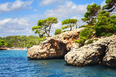 majorca: Rocks on the coast. Illustration in the style of watercolor paintings.