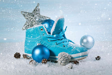 chock: Christmas background with boots and Christmas decorations Stock Photo