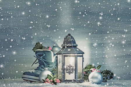 Christmas lantern with a shoe and Christmas decorations in the night. Digital illustration