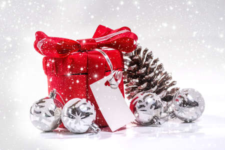christamas: Christmas gift with the New Year decorations Stock Photo
