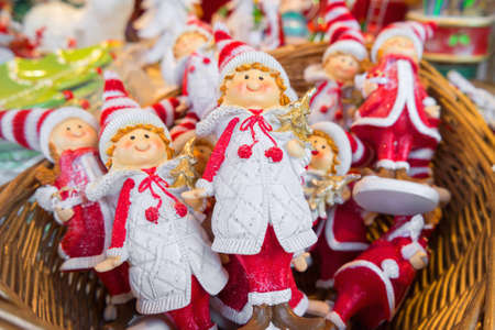 puppets: Christmas puppets in a basket. Stock Photo