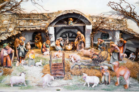 lamb of god: Christmas nativity scene made of natural materials Stock Photo