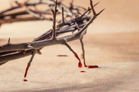 Korona cierniowa z kapiącą krwią. Chrześcijańska koncepcja cierpienia. Zdjęcie Seryjne