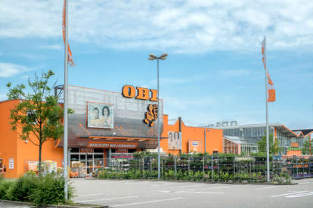 home improvement store: BADEN-BADEN, GERMANY - MAY 29, 2016: Entrance to the OBI Home Improvement store. OBI GmbH & Co is the largest DIY retailer in Europe.