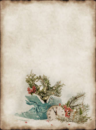 chock: Vintage background with Christmas decorations Stock Photo