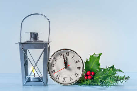 flicker: Christmas lantern with Holly leaves and berries  and  Christmas clock