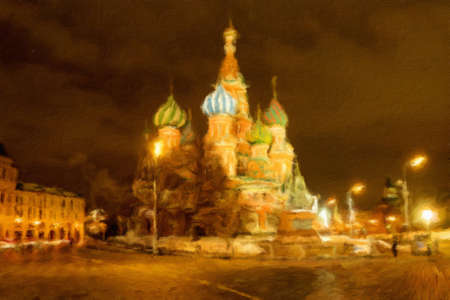 St. Basils Cathedral on Red Square at night.  Oil painting effect.