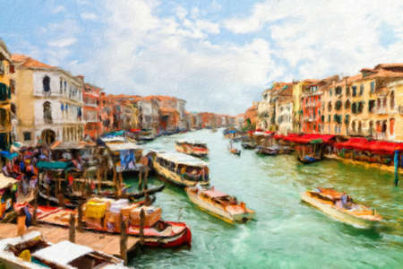 italy landscape:  Boats and gondolas on the Grand Canal of Venice.  Oil painting effect.
