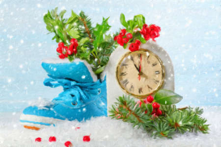 New Year clock with blue shoe and fir branches. Oil painting effect.