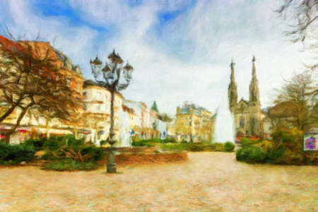 Historic center of Baden-Baden. Germany. Oil painting effect. Stock Photo