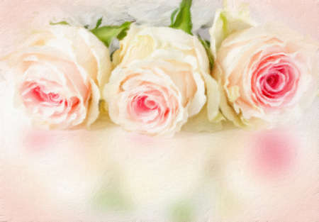 wedding dress back: Wedding background with roses. Oil painting effect. Stock Photo