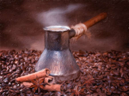 freshly: Freshly brewed coffee with cinnamon and anise. Oil painting effect. Stock Photo