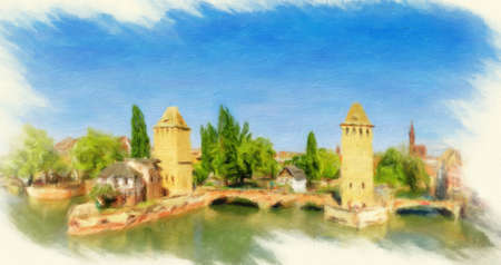 Panorama of Strasbourg, medieval bridge Ponts Couverts. Alsace, France.   Oil painting effect.