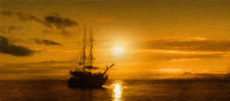 tropical beach panoramic: ship on a sunset background.  Oil painting effect.