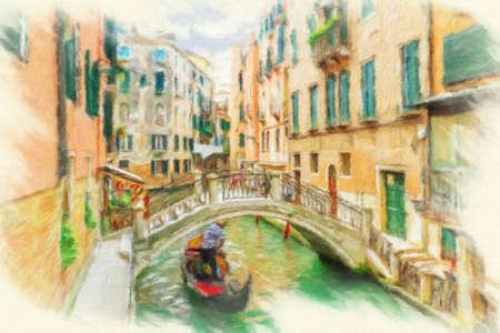 Canal à Venise, Italie. Peinture à l'huile d'effet. Banque d'images - 66985163