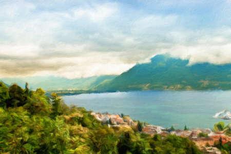 swiss alps:  Lake Lugano. Switzerland. Europe. Oil painting effect.