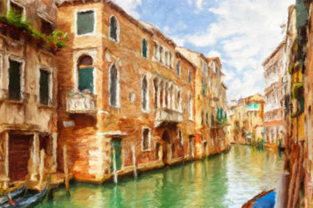 painting on the wall: Canal in Venice, Italy.  Oil painting effect. Stock Photo