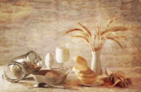 withered: Still-life with milk and oatmeal.  Oil painting effect. Stock Photo