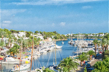 Cala DOr yacht harbor with recreational boats. Mallorca, Spain. Digital illustration in draw, sketch style.