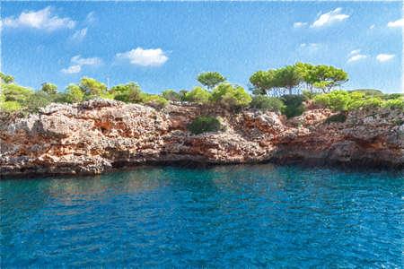 coast of Mallorca island. Spain.  Digital illustration in draw, sketch style.