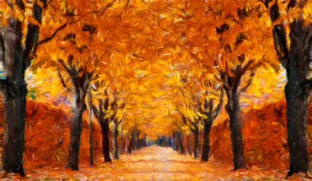 alley: Autumn alley.  Oil painting effect. Stock Photo
