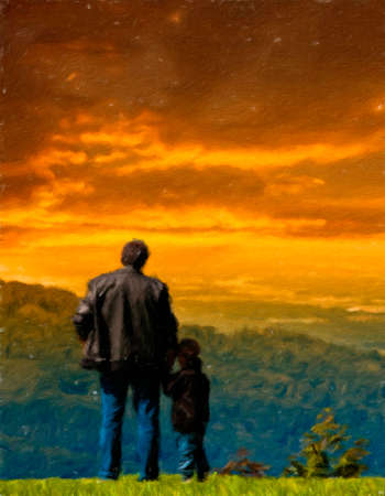 looked: Father and son looked into the distance from the cliff.  Oil painting effect. Stock Photo