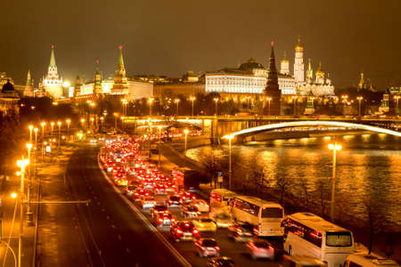 Night view on Moscow Kremlin, Moscow river