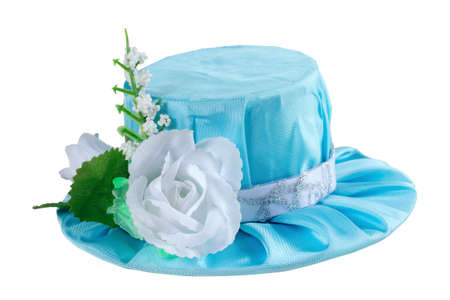 Blue carnival hat for a princess on a white background Stock Photo