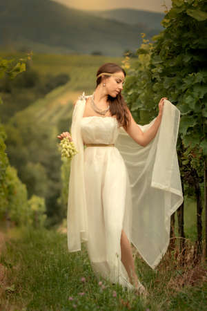 Young woman in tunic harvesting grapes