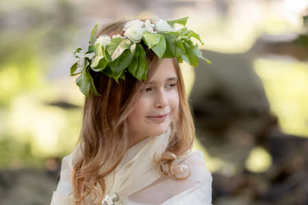 Portrait of a girl in the image of a forest nymph