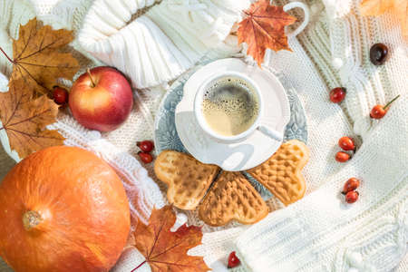 Autumn, fall leaves, a hot steaming cup of coffee, pumpkin and a warm sweater on a wooden table background.