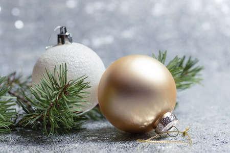 Christmas card with christmas balls and bokeh
