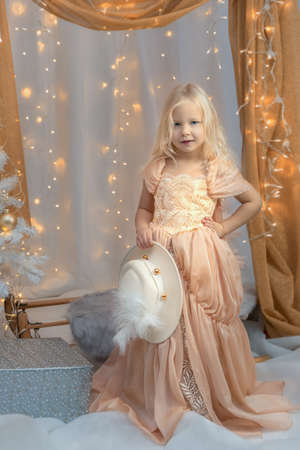 Girl in a princess dress near the New Year tree. Christmas concept