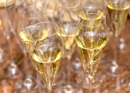 Glasses with champagne close-up on the table