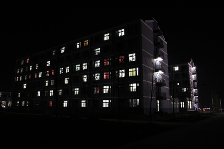 night school: School dormitory at night