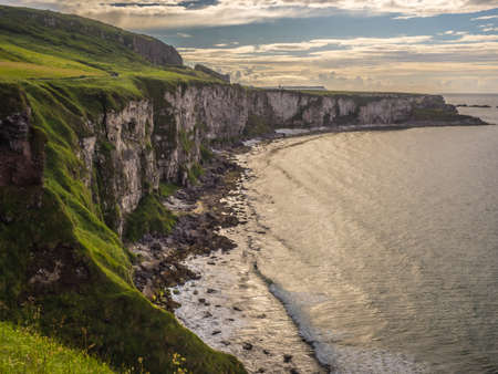 BALLYCASTLE UK- JULY 12, 2016 - Carrick-a-Rede, a beautiful view on the irish cliffs near the Carrick-a-Rede  - Northern Irland on July 12, 2016