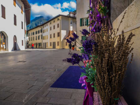 VENZONE -ITALY - MAY 13, 2017 - Venzone the beautifull village in Italy 2017, very famous for its lavender, Venzone, Italy on MAY 13, 2017 Editoriali
