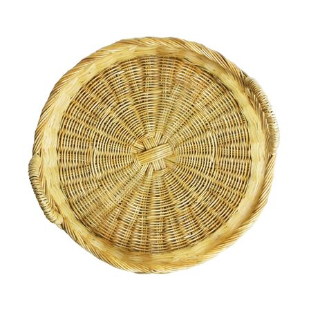 Empty wicker basket isolated on white 免版税图像