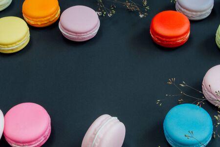 tone: Macaron on black Vintage tone Stock Photo