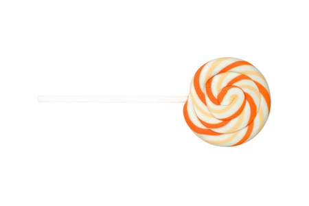 Colorful lollipops, Orange candy on over white background.