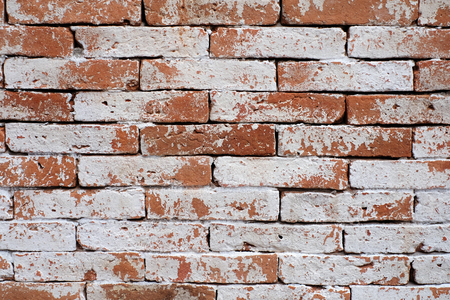 Background of old vintage brick wall with peeling white, texture. Banque d'images - 123544671