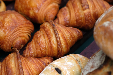 Fresh butter croissants. Bakery in the foods market.