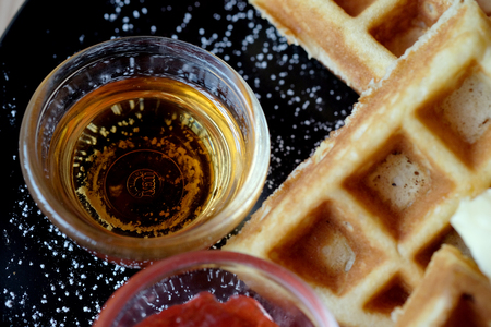Sweet waffle dish, Close up to syrup.