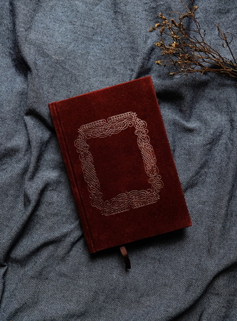 Old book cover in red canvas with embossed golden abstract decorations with copy space for text, Vintage tone. 免版税图像