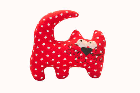 purring: Red cat toy on a white background Stock Photo