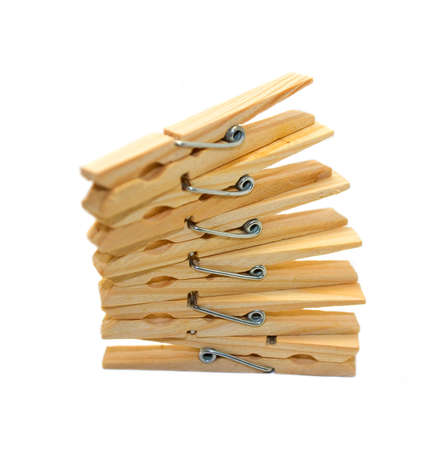 clothespins: Clothespins on a white background isolated Stock Photo