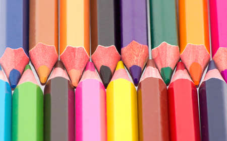 sharpened: Many sharpened pencils and colored up close.