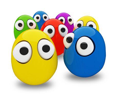 ojos caricatura: los huevos gracioso como un personajes de dibujos animados en 3D aisladas sobre blanco Foto de archivo