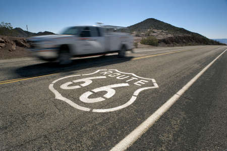 route 66 speeding pick up truck photo
