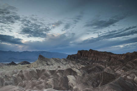 badland: zabriskie Point cloudy dusk